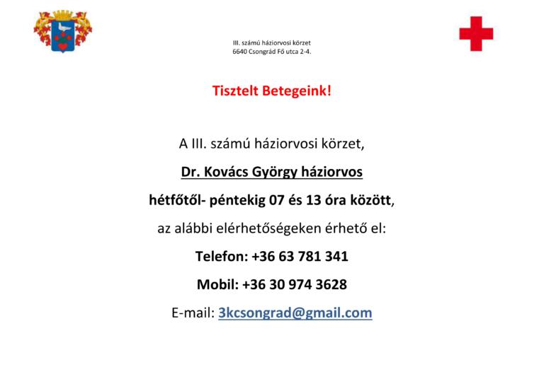 Cikk kép: Dr. Kovács György háziorvos elérhetőségei