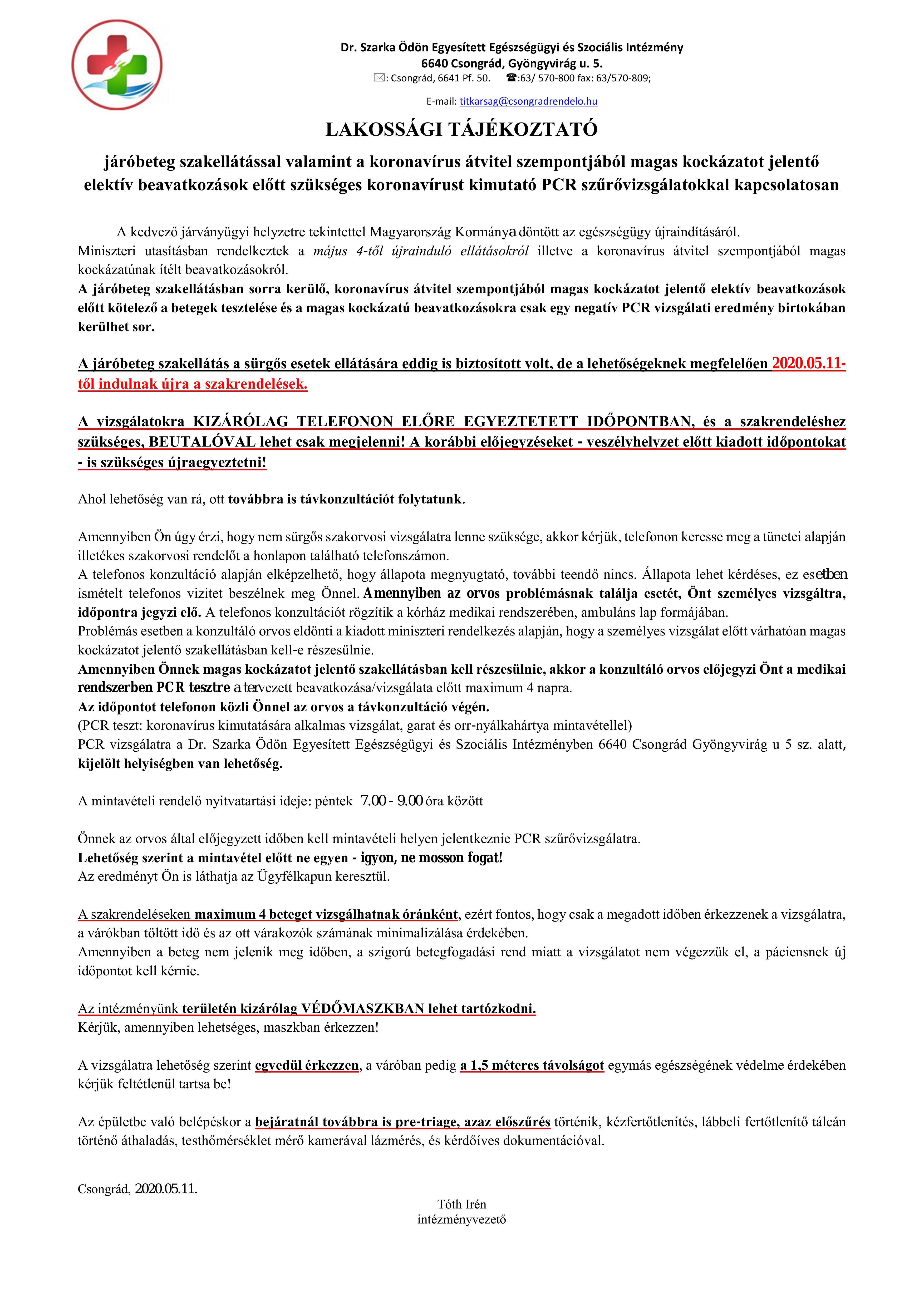 Cikk kép: Lakossági tájékoztató: Járóbeteg szakellátásról és a PCR szűrővizsgálatokról