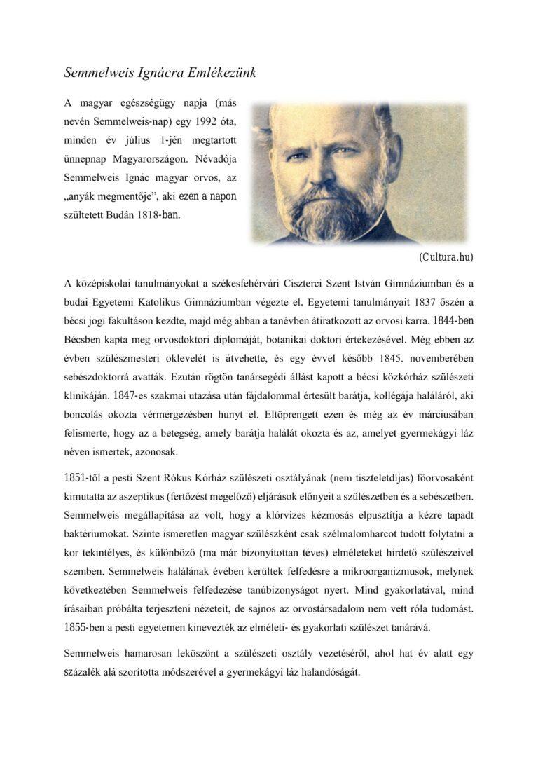 Cikk kép: Semmelweis Ignácra Emlékezünk