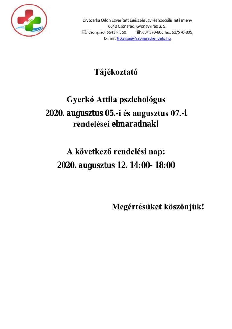 Cikk kép: Rendelés elmaradás: Gyerkó Attila - pszichológus