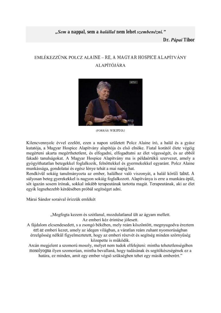 Cikk kép: Emlékezzünk Polcz Alaine-re, a Magyar Hospice Alapítvány alapítójára