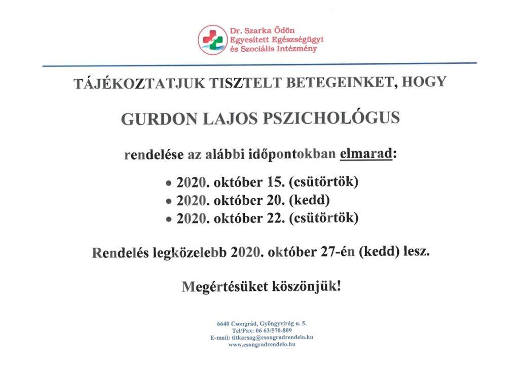 Gurdon Lajos pszichológus rendelése