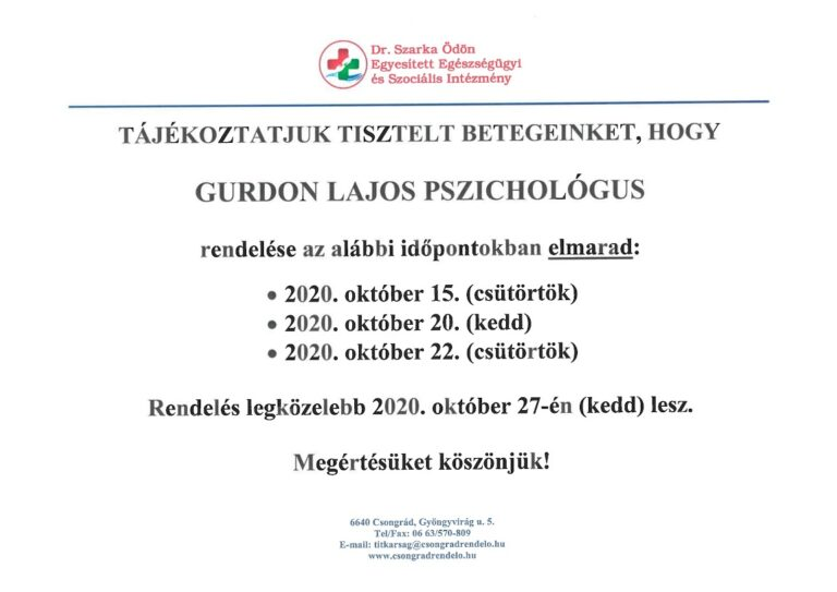 Cikk kép: Gurdon Lajos pszichológus rendelése