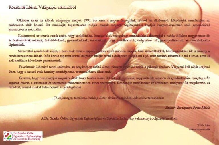 Cikk kép: Köszöntő Idősek Világnapja alkalmából