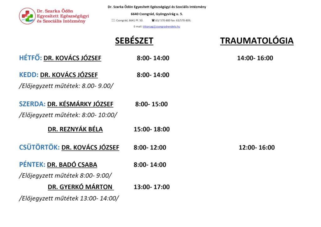 Sebészet-Traumatológia rendelési idők