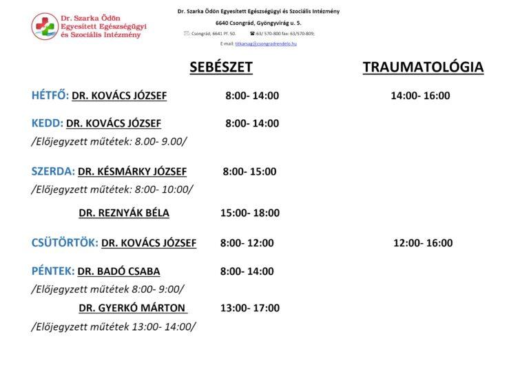 Cikk kép: Sebészet-Traumatológia rendelési idők